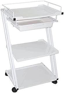 "Skin Act""Z"" Shape White Trolley Three (3) Shelf Trolley Cart with Metal Frame"