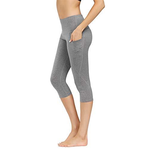 IceUnicorn Damen Sport Leggins Hohe Taille Tights 3/4 Yogahose Blickdichte Kurz Laufhos Fitness Hosen Jogginghose mit Taschen Short(3/4 Hanf...