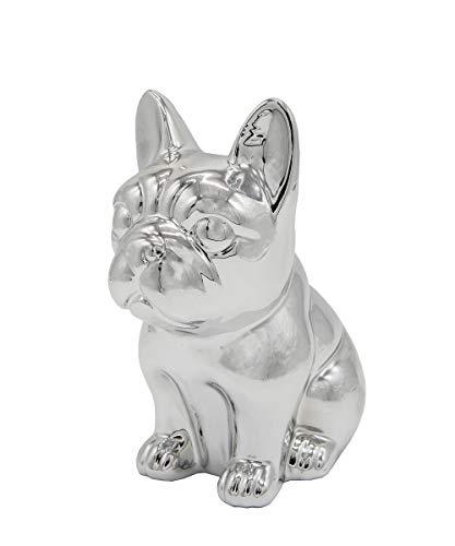 Ceramic Dog Statue - Sitting French Bulldog (Metallic Silver)