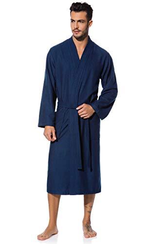 Morgenstern Kimono Bademantel Herren Saunamantel blau leicht Männer Herrenbademantel wadenlang Bambus Baumwolle Microfaser Größe M Michael