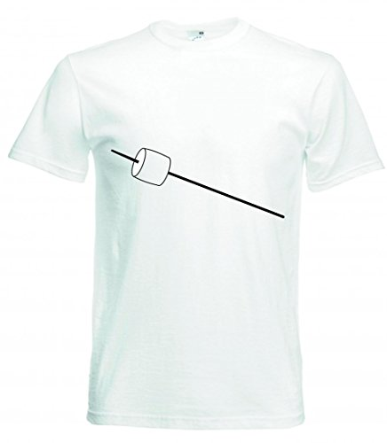 Camiseta de manga corta, diseño con texto en alemán 'EIBISCH- Stick- SÜßIGKEITEN- SÜß- IMBISS- LECKER- Zucker- SPAß- Kindheit- GEBRATEN- Flamme- Camping para hombres- damas- niños - 104-5XL Blanco Para Hombre Talla : XX-Large