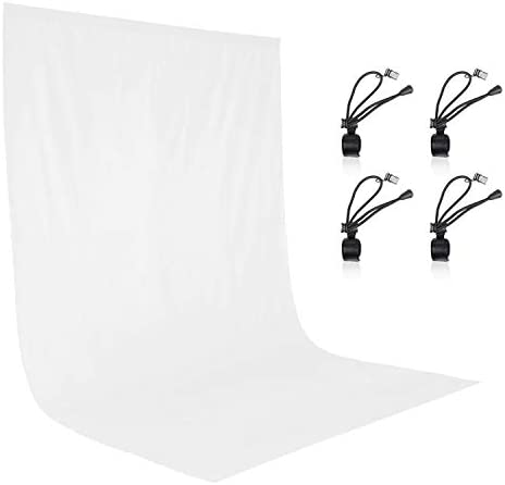 EMART 6x9ft Photography Backdrop White Backdrop for Photoshoot [Muslin 100% Cotton], Photo Video Studio White Back Drop with 4 Clips for Photography Background Screen, Party Backdrop Curtains