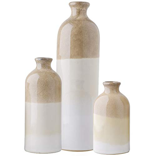 TERESA'S COLLECTIONS Ceramic Rustic Vase for Home Decor, Set of 3 Glazed Brown and White Decorative Vases for Table, Kitchen, Living Room Decoration