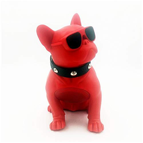 Liapianyun Inteligente De Gran Tamaño Altavoz Bluetooth Bulldog, Luz Y Pequeños Altavoces Escindidos Resistente Al Perro De Cuerpo Completo Hundekopf Portátil De Radio FM,Rojo