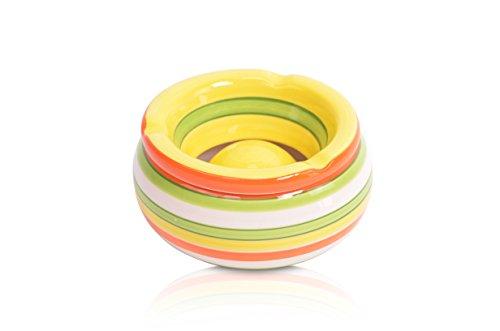 CHICCIE Cendrier en céramique à Rayures Multicolore Ø 11 cm, Jaune