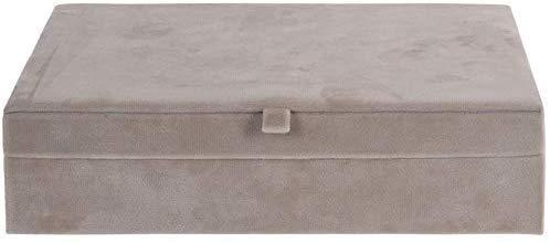 Koop Homewares - Portagioie in velluto, con scomparti per gioielli, colore: Beige e rosa e velluto, colore: Beige, cod. 5051153400969