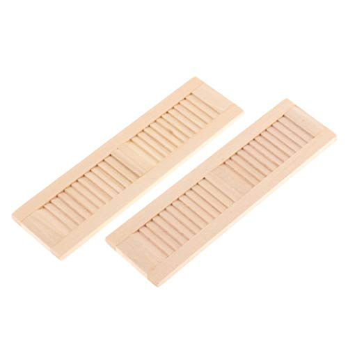 2 delar omålade träluckor för 1/12 dockhus DIY-fönster tillbehörsrum artiklar