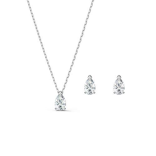 Swarovski Attract Pear Set, Rhodinierte Halskette und Ohrringe mit Funkelnden Weißen Swarovski Kristallen