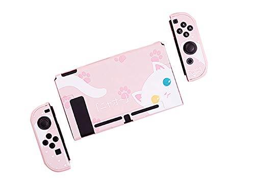 Nintendo Switch スイッチ ケース 分体式  カバー 薄型  Joy-Con用 ニンテンドースイッチ カバー  指紋防止 キズ防止 全面保護  ニンテンド ケース  親指キャップ*4 ( 色 : ピンク ケース )
