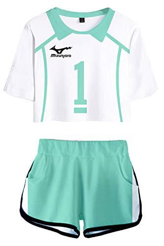NewDong Oikawa Tooru Cosplay Costume Haikyuu Aoba Johsai High School Volleyball Uniform Jerseys Crop Top Shorts Set, Small