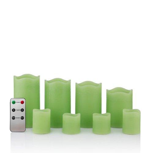 8 LED Echtwachskerzen Set mit Timer und Fernbedienung - 4 Stumpenkerzen und 4 Teelichter (Grün)