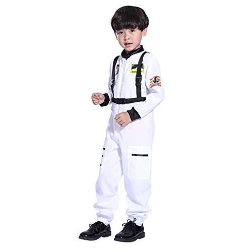 GJKK Kostüm für Kinder Jungen Astronauten-Kostüm Overall Jumpsuit Rollenspiel Astronaut Spaceman Cosplay Flight Space Suit Cosplay Kostüm Für Halloween Party Ostern Weihnachten Kinder
