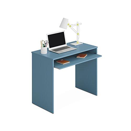 Habitdesign - Mesa de Ordenador I-Joy con Bandeja extraíble, Escritorio Juvenil, Color Azul, Medidas: 90 cm (Ancho) x 54 cm (Fondo) x 79 cm (Alto)