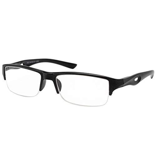 エール 老眼鏡 1.0 度数 メンズ ハーフリム バネ蝶番 ブラック AH132S