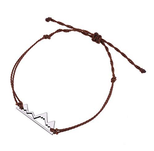 Cooltime - Braccialetto regolabile in corda per campeggio, con ciondolo a forma di montagna e Lega, colore: Marrone