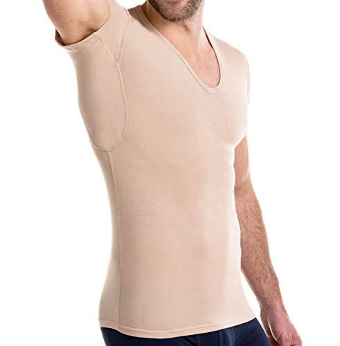 FINN Business Herren Unterhemd mit Einsätzen gegen Schweiss Atmungsaktives Unterziehshirt Männer Unsichtbare Hautfarbe Nude XL