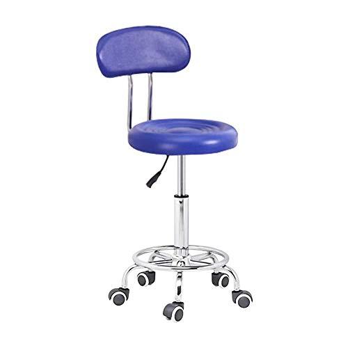 Friseur Stuhl mit Rollen,Stühle Höhenverstellbar mit Blau Kunstleder Bezogener Sitz,höhenverstellbar 50-60 cm,bis 160kg,Bürostuhl mit Lehne für Friseur Maniküre Tätowierungstherapie Beauty Office Cha