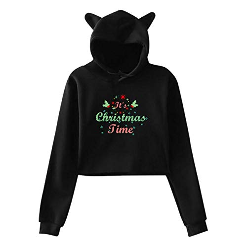 Joyeux Noël, voeux,Oreille de Chat,Pull à Capuche,Filles,Top Court,Hip hop,Chaud(XXL,Noir)