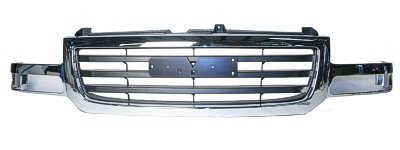 New Front Grille For 2002-2007 GMC Pickup Sierra Denali, 2003-2006 GMC Pickup Sierra And 2007 GMC Pickup Sierra Classic 1500/2500 Light Duty Series And All Denali Models Chrome/Black GM1200475