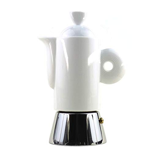 Moka Consorten Italienischer Espressokocher »Darling« aus Edelstahl, weißem Porzellan & Alu-Trichter (105 ml) / Made in Italy/Nicht für Induktion geeignet