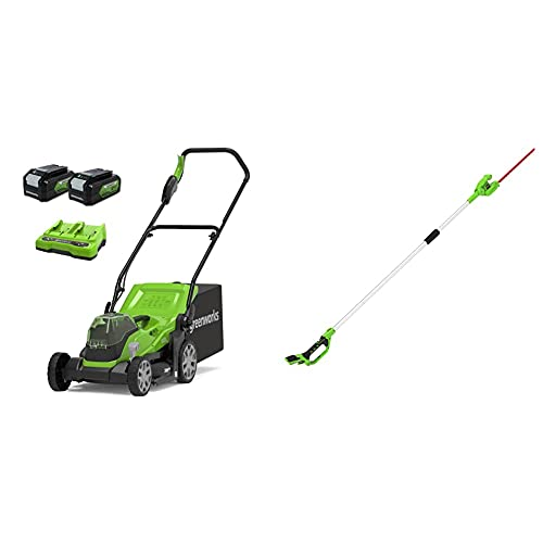Greenworks Tools Cortacésped 2512507UD, 48 V, 2 x batería 4 Ah + Cortasetos Accu de Largo Alcance con Batería G24PH51, Li-Ion 24V 51 cm de Longitud de la Espada, 18 mm de Grosor de Corte