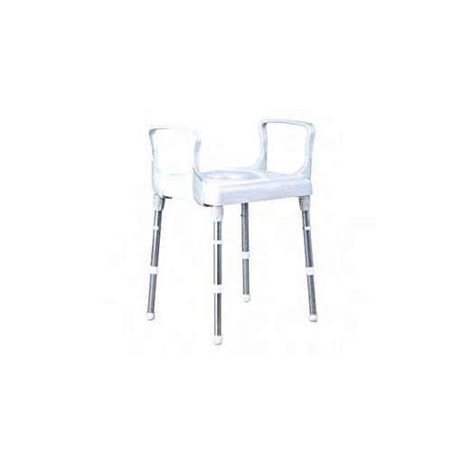 Silla para wc-silla para ducha con reposabrazos, regulable en altura. Aluminio y plástico