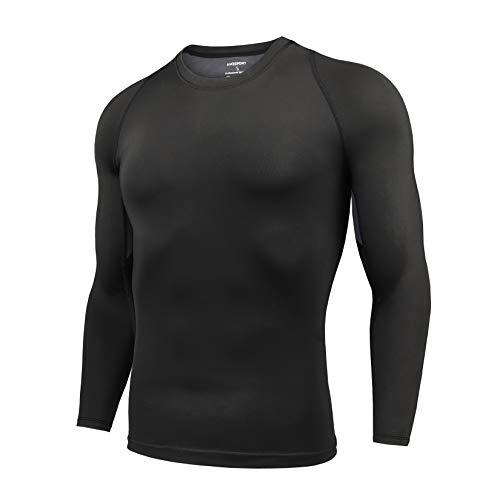 AMZSPORT Herren Kompressionsshirt Langarm Funktionsshirt Sportshirt Atmungsaktiv Laufshirt, Schwarz, L