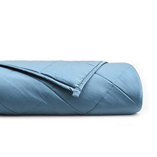 YnM Bamboo Weighted Blanket with 100% Pure Natural Bamboo Viscose | 15lbs for 90-150 lbs Individual, 60'x 80' | Luxury Cooler Version Weighted Blanket, Blue Grey