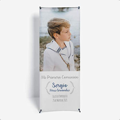 Onepersonal – Photocall Personalizado comunión niño con Estructura | Xbanner de Lona Personalizable para añadir Foto y Texto – Diseño Minimalista | Decoración Comuniones Personalizada