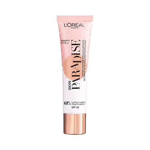 L'Oreal Paris Make-Up Designer Skin paradise Water-Cream Hidratante con Color y Spf 20, Tono Piel Medio Medium 01 39 g