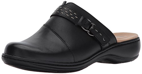 Clarks Women's Leisa Sadie Mule, Black Leather, 10 W US