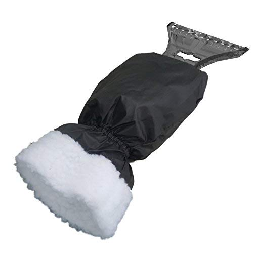 AUPROTEC Eiskratzer mit Handschuh, gefüttertes Innenfutter, umschließender Gummizug, mit Eisbrecherkante, schwarz