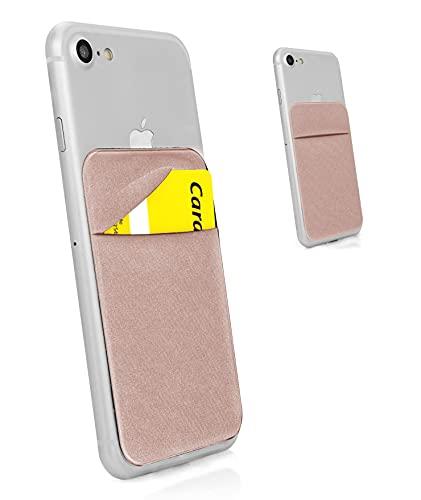 MyGadget Porte Cartes - Anti signaux RFID - Pochette adhésive élastique avec Rabat pour Smartphone Wallet Universel pour Papiers & Fourre Tout Etui - Rose Or