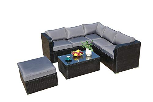 6 Seaters Corner Sofa Sunny Set with Raincover Rattan Garden Patio Outdoor Furniture Set -Black