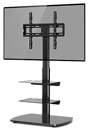 WECDS Soporte de piso para TV con 3 estantes de vidrio templado para pantallas planas y curvas LED de plasma de 26 a 60 pulgadas, color negro