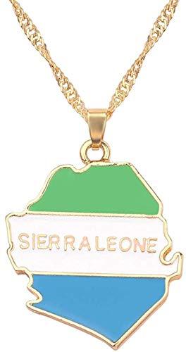BACKZY MXJP Collar Sierra Leona Moda Bandera Nacional Mapa Colgante Collar Moda Hombre Mujer Collar Cadena Joyería Moda Accesorios Regalo Collar