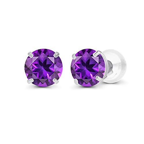 Genuine 10K Solid White Gold 4mm Round Natural Purple Amethyst February Birthstone Stud Earrings