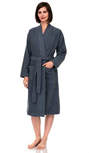 TowelSelections Bata de algodón turco para mujer, kimono de rizo, Bering Sea, S-M