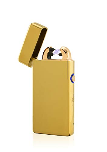 TESLA Lighter TESLA Lighter T08 Lichtbogen Feuerzeug, Plasma Double-Arc, elektronisch wiederaufladbar, aufladbar mit Strom per USB, ohne Gas und Benzin, mit Ladekabel, in edler Geschenkverpackung Gold Gold