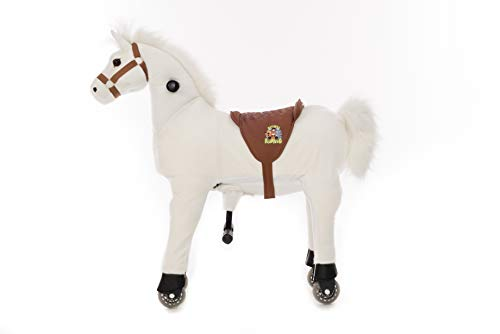 Animal riding Caballo de equitación Snowy (para niños a Partir de 3 años, Altura del sillín 56 cm, con Ruedas), ARP011S, Blanco, S