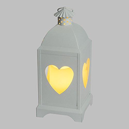 LuminalPark Lanterne carrée Blanche en métal avec cœurs, h 29 cm, Bougie LED Blanc Chaud à Pile avec télécommande 7 Fonctions IR