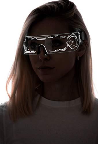 Cyberpunk LED-Visierbrille – perfekt für Cosplay und Festivals – Cybergoth – Cyberpunk-Brille, Weiá (Htc01-weiß), Einheitsgröße