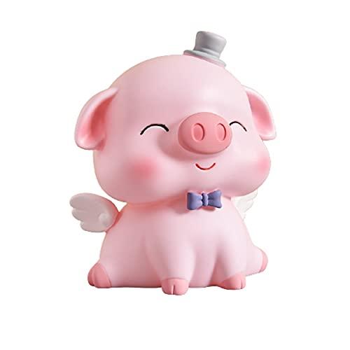 Vinilo lindo cerdo cerdo alcancía moneda banco caja de ahorro para niños niña adulto ahorros jar decoración del hogar regalo de cumpleaños caja de dinero ( Color : Pink , tamaño : 4.3x3.7x5.1 inch )