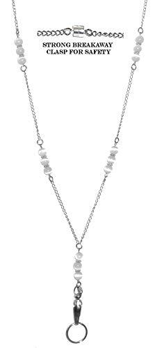 "Hidden Hollow Beaded Chain Lanyard, 34"" Made in USA, ID Badge Holder, Women's Fashion Lanyard (Beaded Chain White Magnetic Lanyard)"