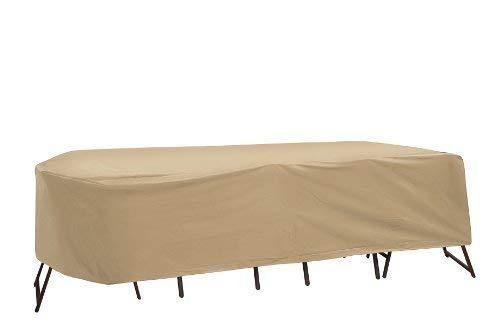 Coques de protection résistant aux intempéries pour salon de jardin terrasse, 182,9 x 193 cm, ovale/rectangulaire Table, Tan en Coques de protection
