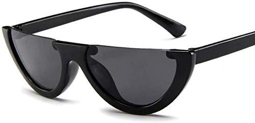 ZYIZEE Gafas de Sol Gafas de Sol de Ojo de Gato de Medio Marco únicas para Mujer Moda para Mujer Tinte Rosa Lentes Transparentes Tonos Negros