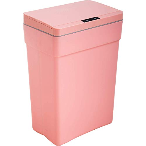 13 Gallon Trash Can Plastic Kitchen Trash Can Automatic Touch Free High-Capacity Garbage Can with Lid for Bedroom Bathroom Home Office 50 Liter (Pink, 1)