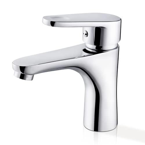 Grifo de baño, Grifo Mezclador Fregadero, Núcleo de válvula de cerámica, Agua fría y caliente, Latón Cromado