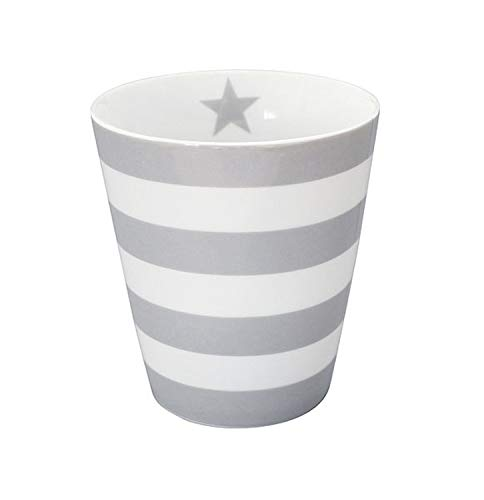 Krasilnikoff - Kaffee Becher/Tasse/Mug - Stripes Grey - Porzellan - Höhe 10 cm