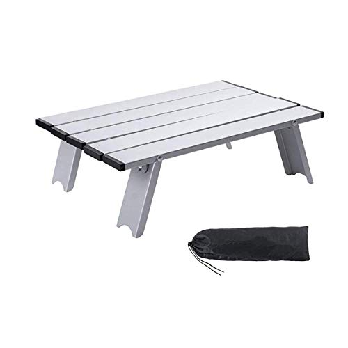 1yess Klapptisch Tragbare kleine Metallminiroll Aluminium Campingtisch Falten, Falten Camping Schreibtisch, Portable Picknick-Tisch, Splitter 8bayfa (Color : Sliver)